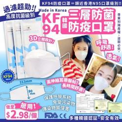 韓國Mak+A成人三層防菌口罩 1套50個 (低至$2.98/片)